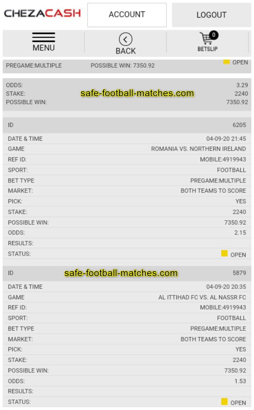 daily fixed matches